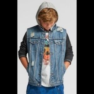 Boys art class denim paint splatter hooded vest
